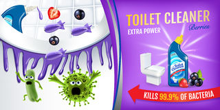 Berries fragrance toilet cleaner ads. Cleaner bobs kill germs inside toilet bowl. Vector realistic illustration. Horizontal poster. Berries fragrance toilet Stock Images