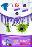 Berries fragrance toilet cleaner ads. Cleaner bobs kill germs inside toilet bowl. Vector realistic illustration. Vertical poster. Stock Images
