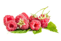 Berries fresh raspberries on leaves. Isolated on white background Stock Photography