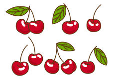 Berries fruit cherry with leaves . Flat style, vector illustration Royalty Free Stock Photo