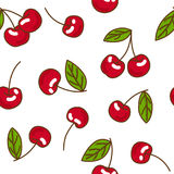 Berries fruit cherry seamless pattern. Flat style, vector illustration Stock Photos