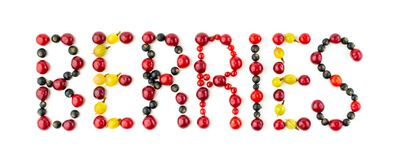 Berries. Colorful assorted mix of cherry, black currant, red currant, gooseberry Stock Images