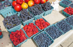Berries and fruit for Sale. Organic berries for sale at outdoor Farmers Market Stock Photos