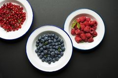 Berries fruits on black background stock image
