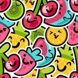 Lovely berries and fruits mix pattern. Berries and fruits mix pattern - lovely funny and bright painted pineapple, orange, watermelon and cherries with kiwi with stock illustration