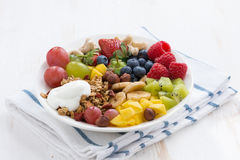 Berries, fruits, nuts and granola for a healthy breakfast Royalty Free Stock Photos