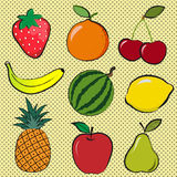 Berries and fruits. A set of drawings of fruit and berries with the contours Stock Image