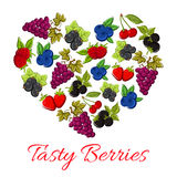 Berries fruits in vector shape of heart Stock Images