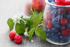 Berries in glass jars on a wooden table and a branch with a flow. Er and raspberry leaves royalty free stock image