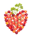 Berries with greens in heart shape Stock Photography