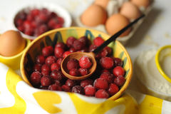 Berries. Handcarved wooden spoon and cranberries Royalty Free Stock Photo