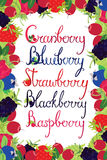 Berries Handwriting lettering in a berry frame Stock Image