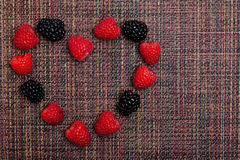 Berries Heart Frame Stock Photos