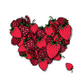 Berries heart, sketch for your design Stock Photo