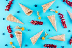 Berries in an ice cream cone. Royalty Free Stock Photos