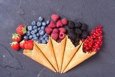 Free Berries In Ice Cream Cone Stock Photo - 97124290