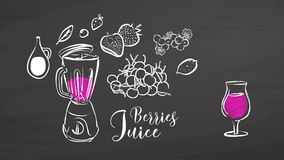 Berries juice drawing on chalkboard stock illustration