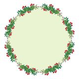 Berries and leaves frame or wreath design template Stock Photo
