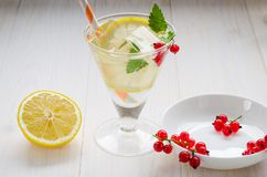 Berries, lemon and cocktail with ice on a white background royalty free stock photo