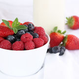 Berries like strawberries and blueberries fruits in a bowl Royalty Free Stock Photo