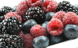 Berries in a mix. Raspberries, Blueberries and Blackberries in a mix on a plate Stock Images