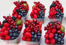 Berries mix backet on the market Royalty Free Stock Images