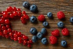 Berries mix blueberries currants raspberries Royalty Free Stock Photos