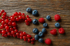 Berries mix blueberries currants raspberries Stock Photography