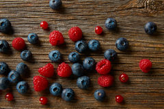 Berries mix blueberries currants raspberries Royalty Free Stock Photography