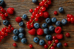 Berries mix blueberries currants raspberries Royalty Free Stock Image