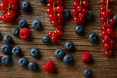 Berries mix blueberries currants raspberries Royalty Free Stock Images