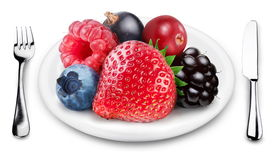 Berries mix on a plate. Stock Photo