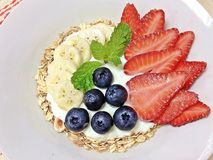 Berries mixed bananas with oat yogurt Stock Photography