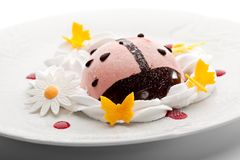 Berries Mousse. Kids Food - Berries Mousse with Whipped Cream Stock Image