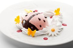 Berries Mousse. Kids Food - Berries Mousse with Whipped Cream Royalty Free Stock Image