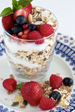 Berries muesli and yoghurt Stock Images