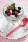 Fruits with yogurt Stock Photos
