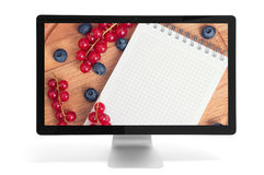 Berries and notepad with copy space Royalty Free Stock Images