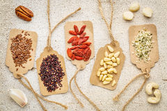 Berries, nuts, grains and seeds - superfood abstract Stock Photo