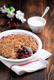 Berries, oat bran and flax seeds crumble Stock Image