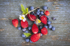 Berries On Rustic Wood Background Stock Photo