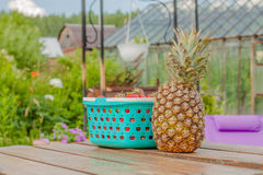 Berries pineapple food and table Royalty Free Stock Photo