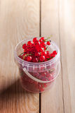 Berries in plastic can. On rustic wooden table Royalty Free Stock Photos