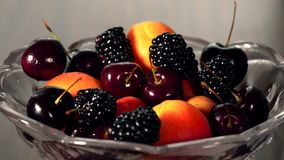 The berries on the plate. Handmade stock footage