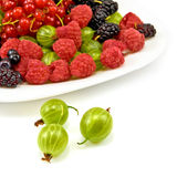 Berries in a plate on a white background Stock Photos