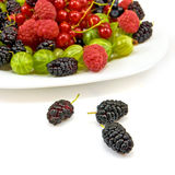 Berries in a plate on a white background Stock Images