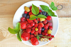 Berries on a plate on a wooden board. Strawberry, raspberry, blackberry, white and red currant, green leaves of strawberries and raspberry in white bowl on Royalty Free Stock Images