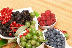 Berries in plates Stock Images