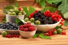 Berries in plates Stock Photo