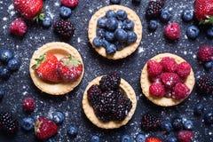 Berries : raspberries , blueberries , blackberries , strawberrie. S. Fresh summer berries in a tartlets on a stone background Royalty Free Stock Photo